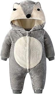 Bebé Mamelucos con Capucha Outfits Invierno Traje de Nieve Abrigo Fleece Zorro Mono Manga Larga Ropa Outwear Niños Niñas 0...