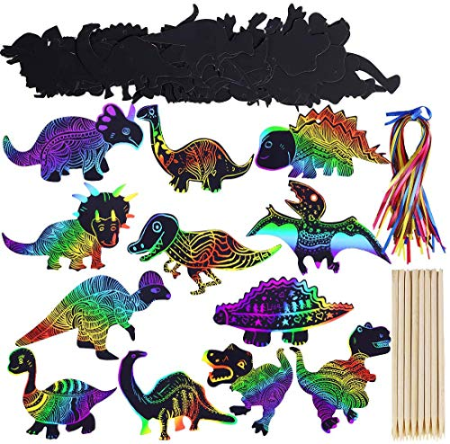 Max Fun Rainbow Color Scratch Dinosaur Ornaments (48 Counts)- Craft Kit Toys for Kids Birthday Party Favors