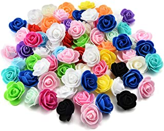 Artificial Flowers Fake Flower Heads Mini PE Foam Roses for Wedding Car Decoration DIY Party Festival Home Decor Pompom Wreath Decorative Valentine's Day Fake Flowers 50 PCS (Colorful)
