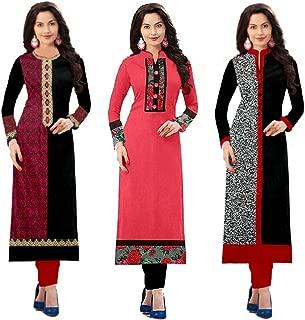 Pramukh Fashion Pramukh Fashion Women's Cotton Straight Kurta (Combo Kurtis)