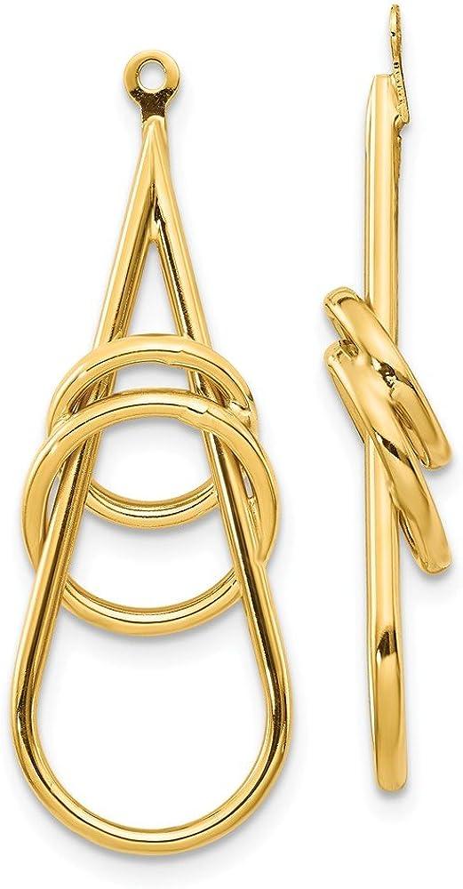 14k Yellow Gold Fancy Teardrop Earring Jackets (L-39 mm, W-11 mm)