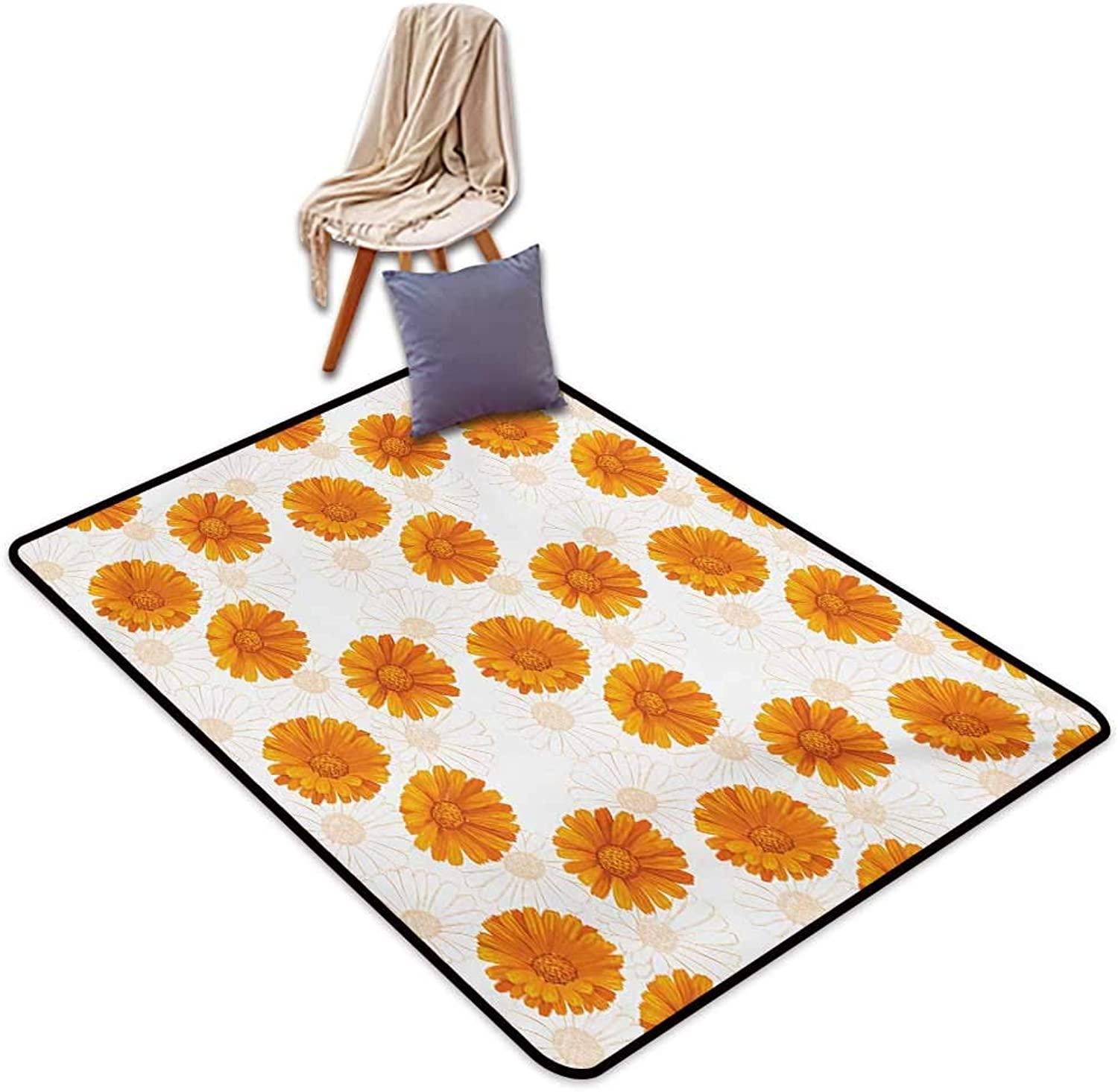 Burnt orange Entrance Door mat Blooming Calendula Flowers Watercolor Botany Themed Composition Water Absorption, Anti-Skid and Oil Proof 48  Wx59 L Burnt orange and White