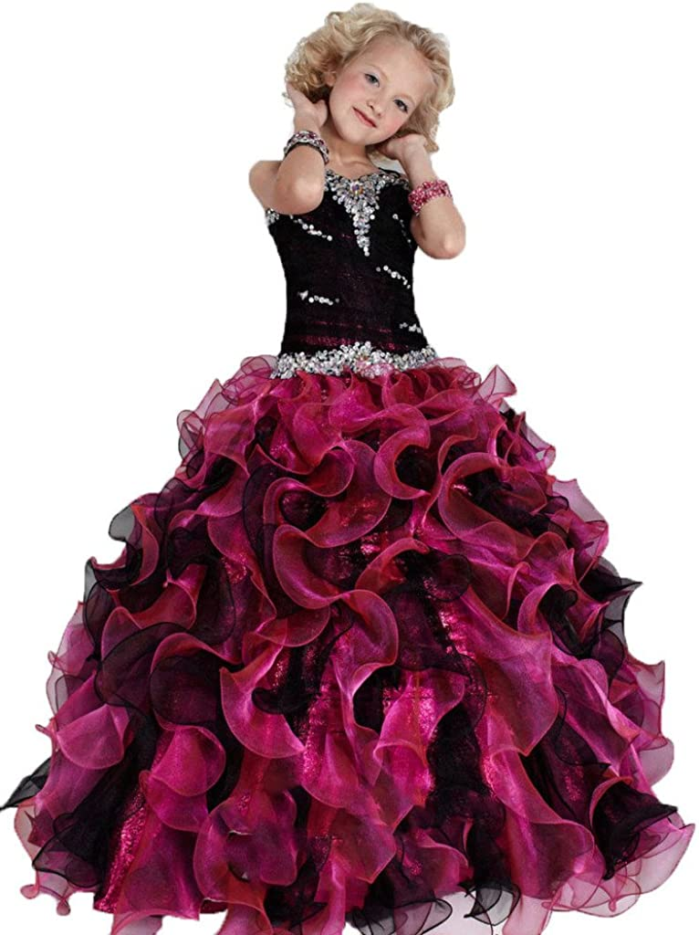 GreenBloom Girls Crystals Ruffled Party 70% OFF Outlet Kids Black Pageant Forma Popular popular
