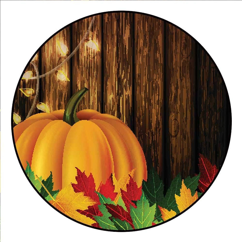Hua Wu Chou Yoga mat Round shaperound Office Chair mat D3'6 1.1m Autumn Leaves and Pumpkin on Wooden Texture