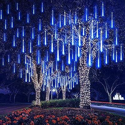 MUEQU Solar Light Outdoor, Waterproof Christmas String Lights Solar LED Meteor Shower Rain Lights Falling Raindrop Light 8Tubes 288LED Fairy Lights for Xmas Tree Garden Party Decor (Blue)