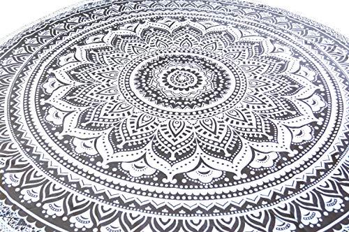 Guru-Shop Ronda de Tela India Mandala, Colcha, Manta de Picnic, Manta de Playa, Mantel - Blanco / Negro, Algodón, Mandala Colchas y Relojes