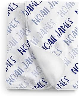 Lovable Gift Co Personalized Baby Name Blanket, Blue Boys Print, Fleece Blanket