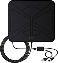 60Miles Indoor TV Antenna Amplified- 4K Free Channels[2019 Upgraded] HDTV Antenna Digital TV Signals Booster High Reception Long Range Amplifier for 4K/1080p 10Ft Coax Cable