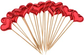 Prettyia 20 Pieces Heart Cupcake Picks Toothpick Cake Toppers Birthday Party Supplies - Red