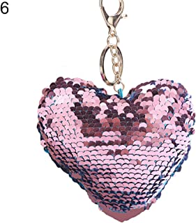 Sanwooden Cute Key Chain Glitter Sequins Heart Key Ring Holder Keychain Women Car Bag Pendant Ornament Girl Fashion Accessories
