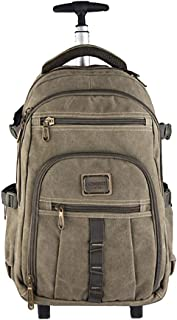 Canvas Trolley Backpack, Female Male Travel Bag, Computer Trolley Bag (Color : Army Green, Size : 18 inches)