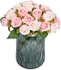 Pink Artificial Rose Flowers,24 Heads Silk Flowers Rose Bouquet for Bridal Wedding Party Arrangements Festival Home Decor(Champagne and Pink)