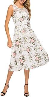 Yinew Lace Stitching Stampa Senza Maniche Vestito Floreale Slim Fit Abiti Elegante Cocktail Party Dress Per Donna, Bianco,...