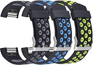 UMAXGET 3-Pack Bands Compatible with Fitbit Charge 2 Watch, Soft Sports Silicone Breathable Replacement Wristband for Men Women, Large Small