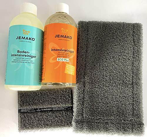 Jemako Outdoor-Set Universell mit DuoPad 12 x 8 cm, graue Faser,Bodenfaser grau, 42 cm,Intensivreiniger, 500 ml-Flasche,Bodenintensivreiniger, 500 ml-Flasche,Schaumpumpe für 500 ml-Flasche, weiß