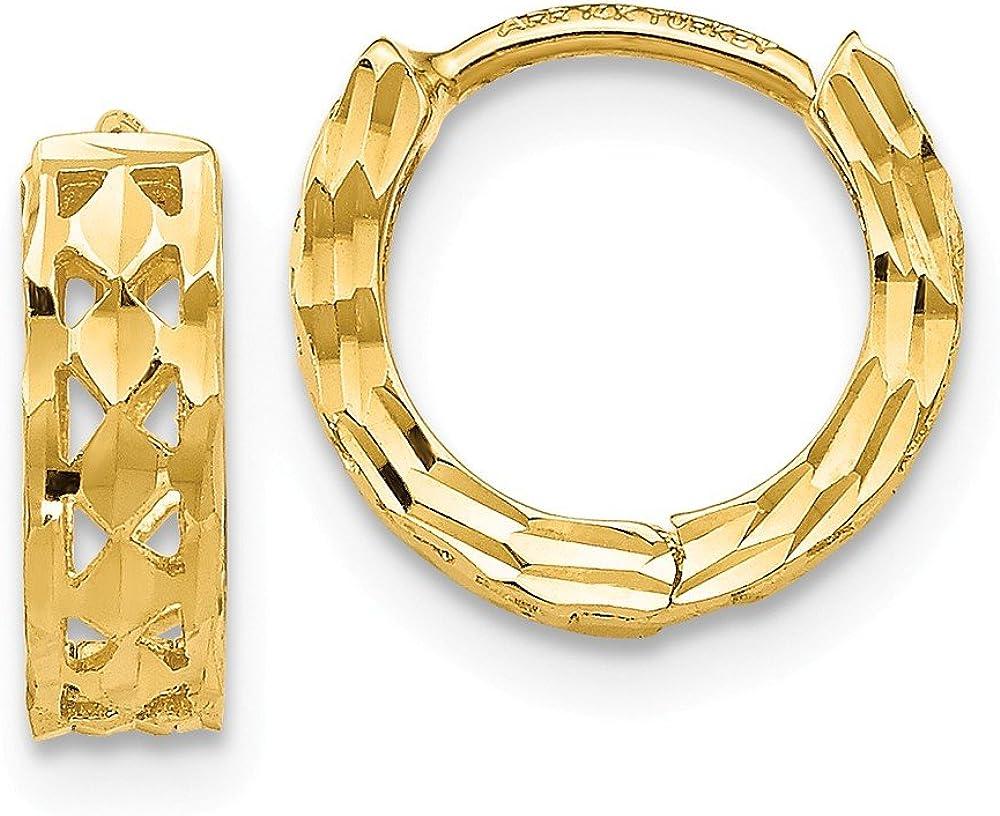 14K Yellow Gold Polished Diamond Cut 8mm Hinged Hoop Earrings