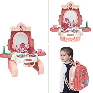 Beauty House Set for Kids MomCare care 2 in 1 Vanity Set Girls Toy Makeup Accessories Back Bag, Big Mirror, Cosmetics, Hai...