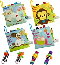ISTOYALL Soft Baby Books Cloth Book Set 4 Pack Crinkle Toys for Baby Educational Learning Infant Toys Toddler Activities Toys for Newborns Infants Babies Boy Girl Gift