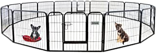 PetPremium Dog Pen Metal Fence Gate Portable Outdoor RV Play Yard | Heavy Duty Outside Pet Large Playpen Exercise | Indoor Puppy Kennel Cage Crate Enclosures | 24