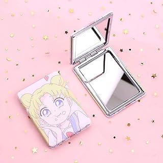 Cute Sailor Moon Mini Cosmetic Mirror, Cartoon Anime Folding Double Makeup Mirror, for Ladies Girls Makeup 8.5X6.2X1.7Cm D...