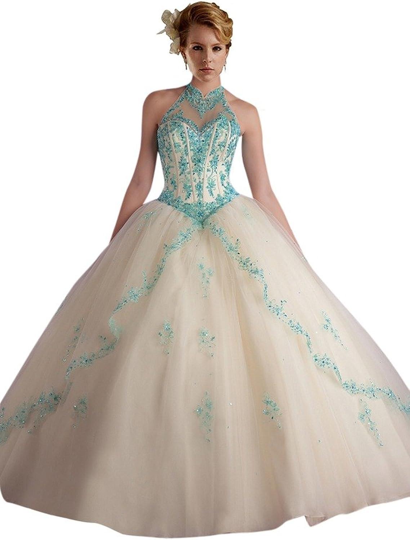 Dearta Women's Ball Gown High Neck FloorLength Crystals Quinceanera Dresses