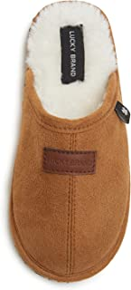 Lucky Brand Boy's Micro-Suede Scuff Slippers, Kids House Shoes with Plush Lining