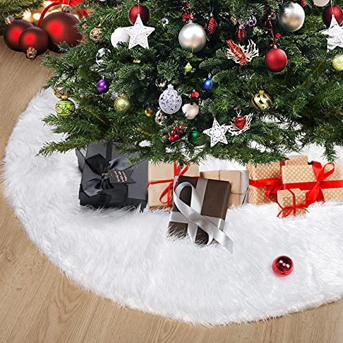 ESMART Falda de Arbol de Navidad 150CM, Christmas Tree Skirt de Felpa Blanca, Base Arbol Navidad de Mimbre Grande para Decoración Navideño al Hogar