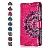 Sony Xperia XA1 Ultra Hülle, CAXPRO® Leder Schutzhülle mit Klappfunktion, Magnetisch Verschluss Handyhülle für Sony Xperia XA1 Ultra, Kratzfestes Tasche, Rose Red