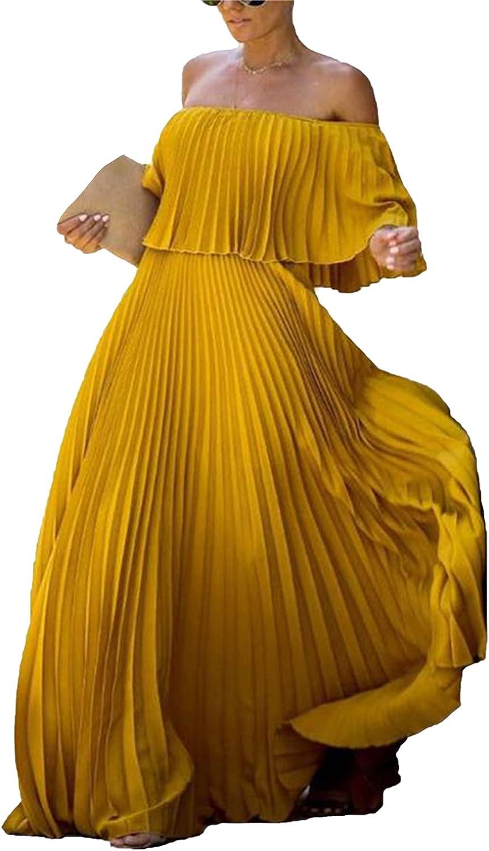 Women's Elegant Off Shoulder Summer Long Ruffle Beach Maxi Dress Rainbow Pleated Casual Dresses