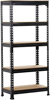 Yaheetech Black Adjustable 5-Shelf Shelving Unit Storage Rack Utility Rack Garage Shelves..