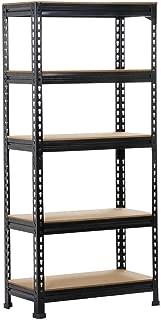 Yaheetech Black Adjustable 5-Shelf Shelving Unit Storage Rack Utility Rack Garage Shelves Display Rack Steel Boltless Rivet Rack,59.1 inch Height 1-Pack