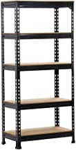 Yaheetech Black Adjustable 5-Shelf Shelving Unit Storage Rack Utility Rack Garage Shelves Display Rack Steel Boltless Rivet Rack,59.1 inch Height 1-Pack