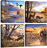 ArtHome520 Yellow Fall Landscape Wild Duck Wall Art Canvas Printed Oil Painting Home Decor orange Animal Deer Picture for Living Room Modern Framed 4 Panel (12''x12''x4pcs)