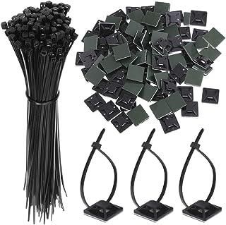 Faburo 100 PCS Zip Tie Adhésifs Noir Collier de Serrage Supports Auto-Adhésifs Supports de Base de Serre-Câbles avec Attac...