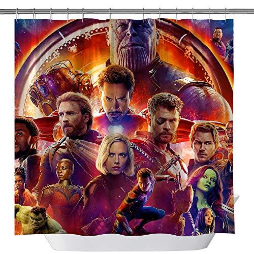 summer007 Marvel Serie Film Avengers Alliance Duschvorhang, Spiderman Iron Man Hulk maßgefertigter wasserdichter Polyesterstoff Duschvorhang für Badezimmer, Badzubehör mit Haken, 180 x 180 cm
