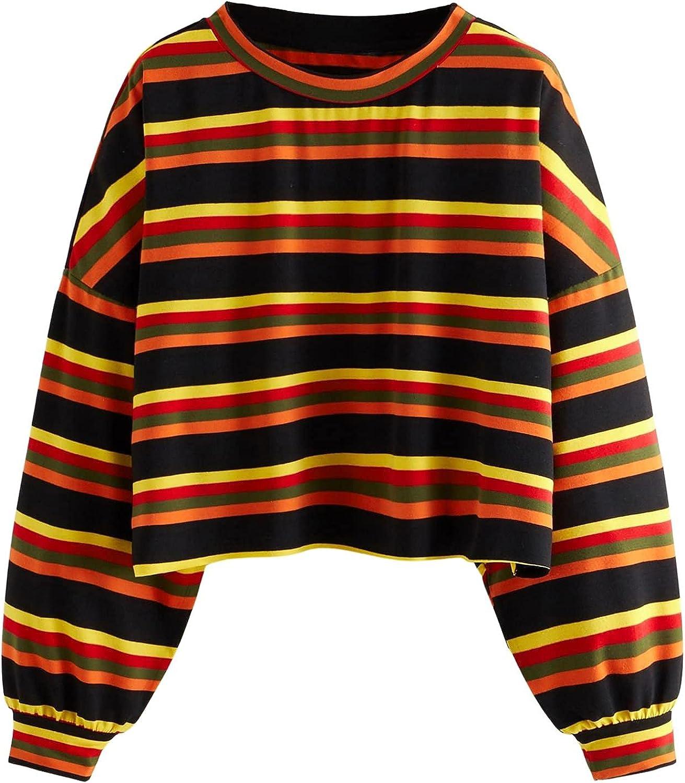 SOLY HUX Women's Plus Size Striped Drop Shoulder Long Sleeve T Shirt Top