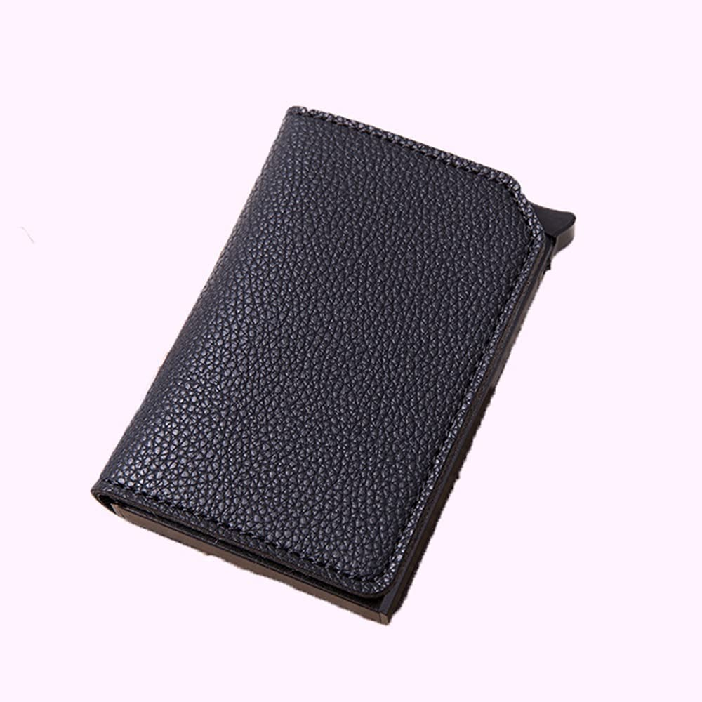 Genuine Free Shipping Lingwu Leather Wallets for Men Card Wallet Metal Holder Money Cl Wholesale