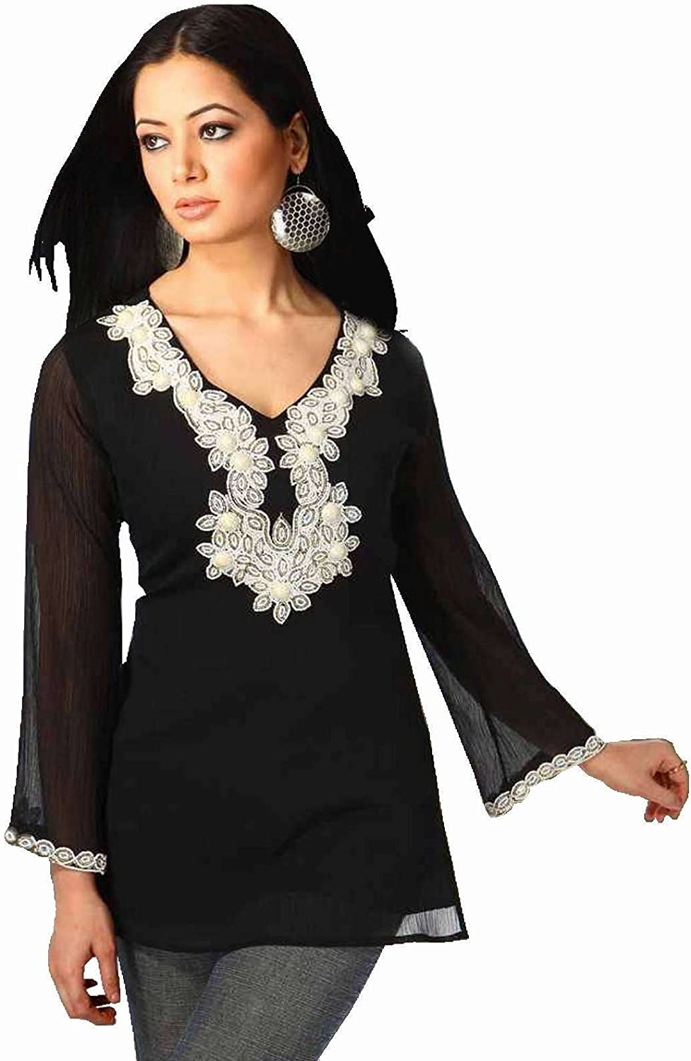 Indian Selections Black Long Sleeves Kurti Tunic with Designer Bead Work