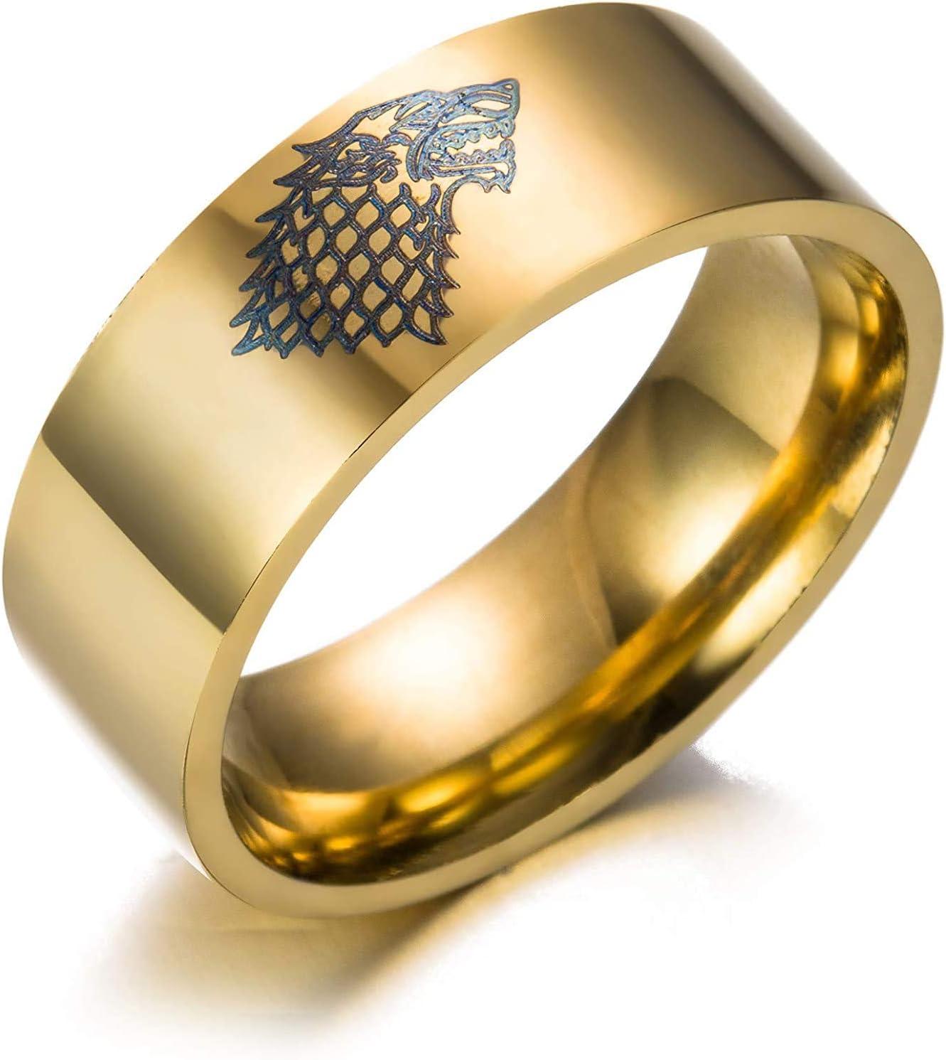 gift YFGlgy Wolf Direct store Head Ring Vikin Steel Stainless
