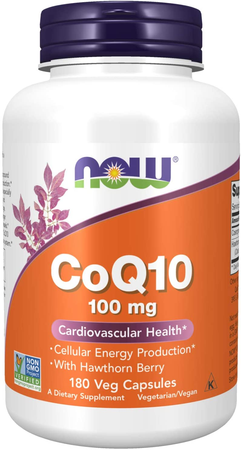 NOW Supplements, CoQ10 100 mg with Hawthorn Berry, Pharmaceutical Grade, All-Trans Form produced by Fermentation, 180 Veg Capsules : Health & Household