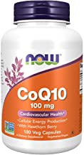 NOW Supplements, CoQ10 100 mg with Hawthorn Berry, Pharmaceutical Grade, All-Trans Form produced by Fermentation, 180 Veg ...