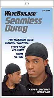 WaveBuilder Premium Hair Wave Seamless Durag, Black