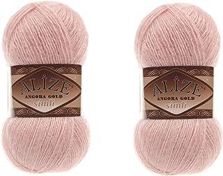 Alize Angora Gold Simli Lot de 2 pelotes de fil à tricoter 5 % métallique 20 % laine 75 % acrylique 200 g 100 m