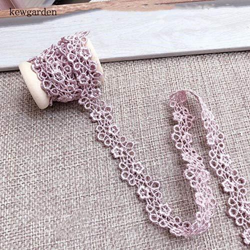 Holle jacquard wateroplosbare holle kant handgemaakte tape DIY kleding jurk Laciness lint singels 2 meter, 1 cm roze