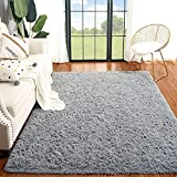 Plmmua Fluffy Shaggy Area Rug for Bedroom, Plush Fuzzy Kids Rug for Living Room, Modern Indoor Soft Home College Decor Carpet for Nursery, Dorm Room, Washable Non Slip Rug, 4 x 6 Feet, Grey