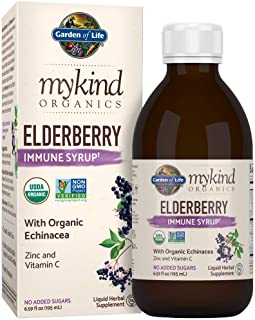 Garden of Life mykind Organics Plant Based Elderberry Immune Syrup 6.59 fl oz (195 mL) for Kids & Adults - Sambucus, Echinacea, Zinc & Vitamin C, 0g Sugar Herbal Supplements