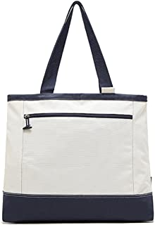 Flowertree® Women's Polyester Sailor Large Beach Tote Shoulder Bag White+blue