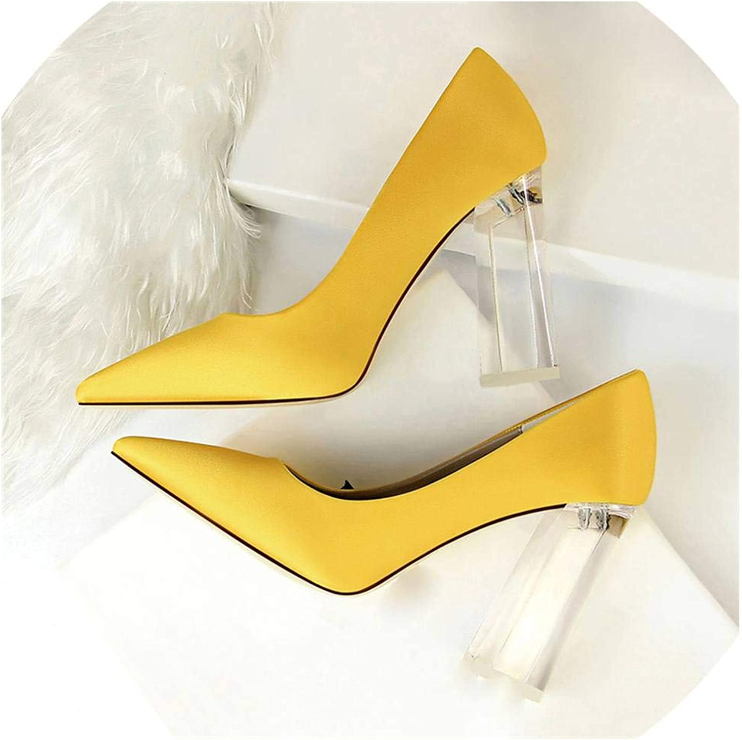 Fan-Shu Pointed Toe Transparent Block High Heels Stain Yellow Pumps Women Lady Office Party shoes