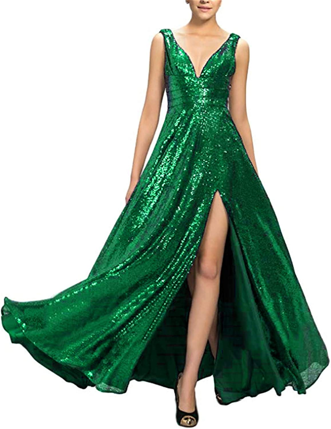 Scarisee Womens VNeck Sequins Prom Dresses Split Formal Evening Party GownSA176