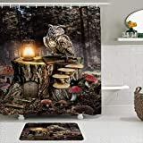 Cortina de ducha, diseño de búho, bosque mágico, seta roja, tocón de conejo, lámpara de bolsillo, diseño de pájaro, decoración de baño, 183 x 183 cm